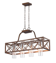 CWI Lighting 1030P34-4-217 - 4 Light Chandelier with Wood Grain Bronze Finish